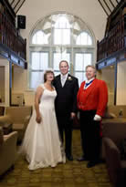 Toastmaster Richard Palmer with bride and bridegroom