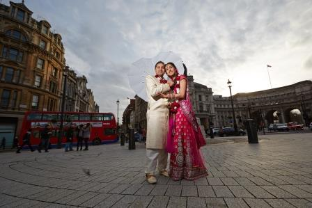 Asian Wedding Photo Shoot from 8 Northunberland to Trafalgar Square London