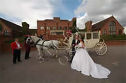 Richard Palmer toastmaster with bride and bridegroom posing for photgraphs in front on their horse drawn carraige