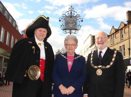 Chelmsford City Crier with the Mayor of Chelmsford Cllr. Christopher Kingsley and the Mayoress Mr. Marion Kingsley
