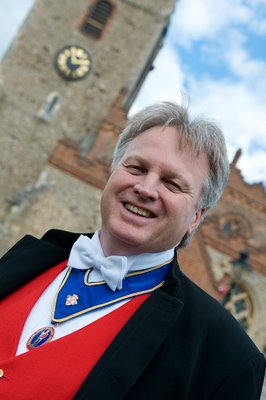 Eassex wedding toastmaster outside St. Mary's Church, Great Baddow Essex