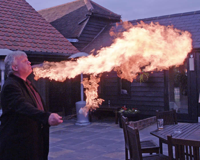 Fire breathing display at an Essex Wedding by the Essex Wedding Toastmaster