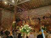 Confetti cannnon let off at wedding reception