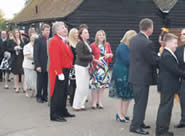 receiving line with wedding guests and Richard Palmer toastmaster at Channels