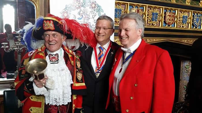 Guess who jumped into this picture. The very flambouyant town crier Tony Appleton