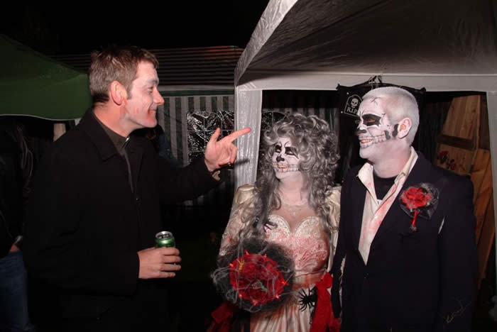 Vicar with the Bride and Groom at The Dead Wedding Party